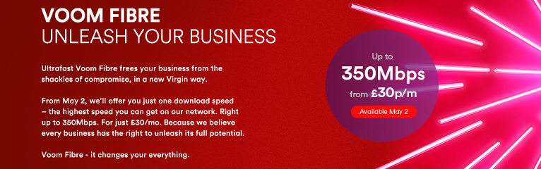 Virgin to crush business broadband rivals with 350Mbps Voom Fibre 1