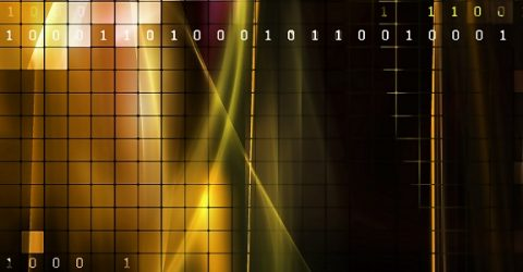 digital image showing binary on yellow and black tiles