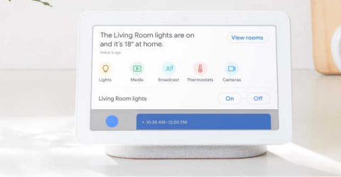 a google nest hub showing smart home options