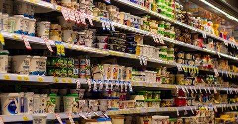 food on supermarket shelves