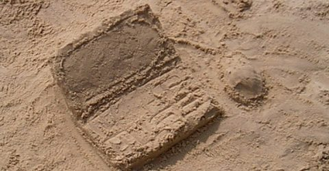 sand sculpted into box shape