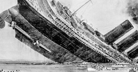 illustration of ocean liner RMS Lusitania sinking