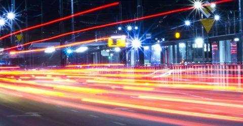 long exposure of car lights on city street