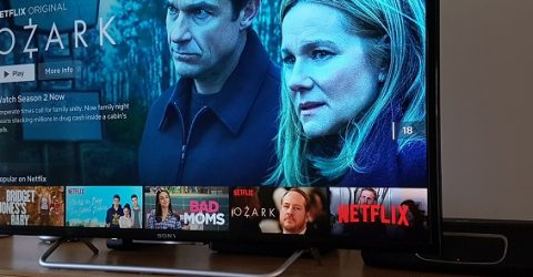 tv displaying netflix preview for ozark tv show