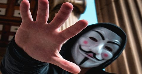 person in a Guy Fawkes Anonymous mask