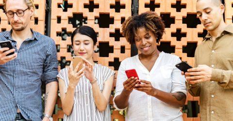 Happy people on phones