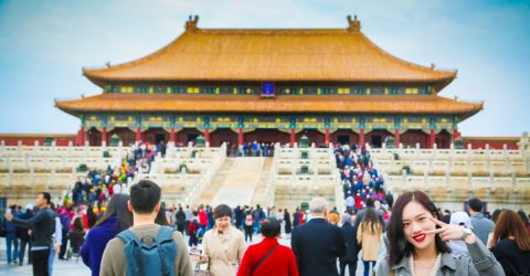 woman in china in crowd