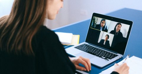 four women on a video conferencing call