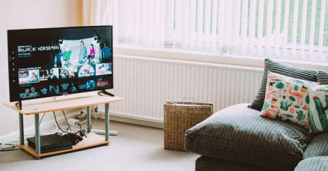 a tv in a living room with netflix on the screen