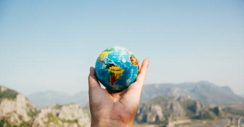 a hand holding a globe
